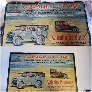 Restauration d'une affiche ancienne : Le Garage du Parc