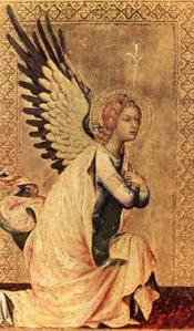 Simone Martini, l'annonciation des offices  an 1333, détail